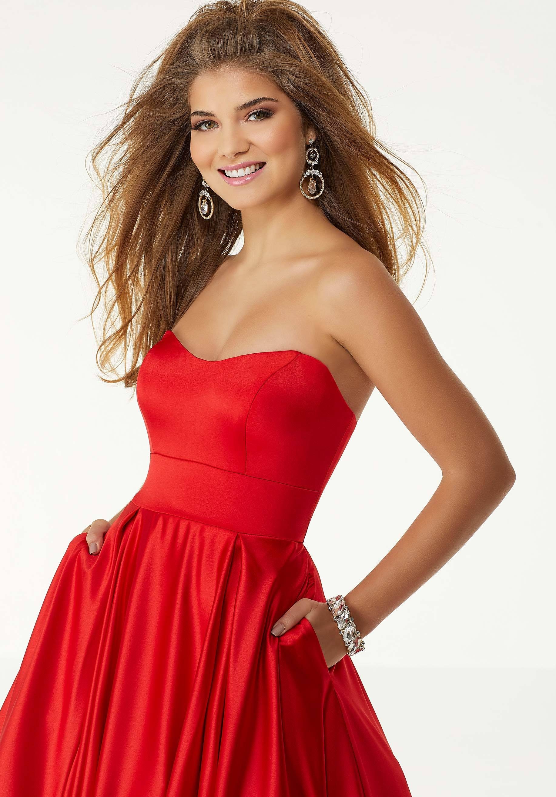 Mori Lee - Sweetheart Lace Up A-Line Evening Dress 45090 In Red