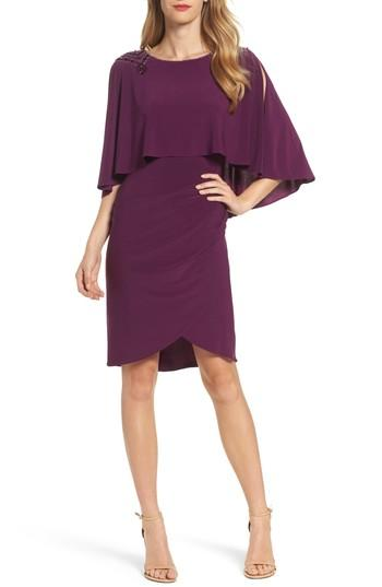 Adrianna Papell - AP1D101422 Beaded Jewel Neck Jersey Fitted Dress In Purple