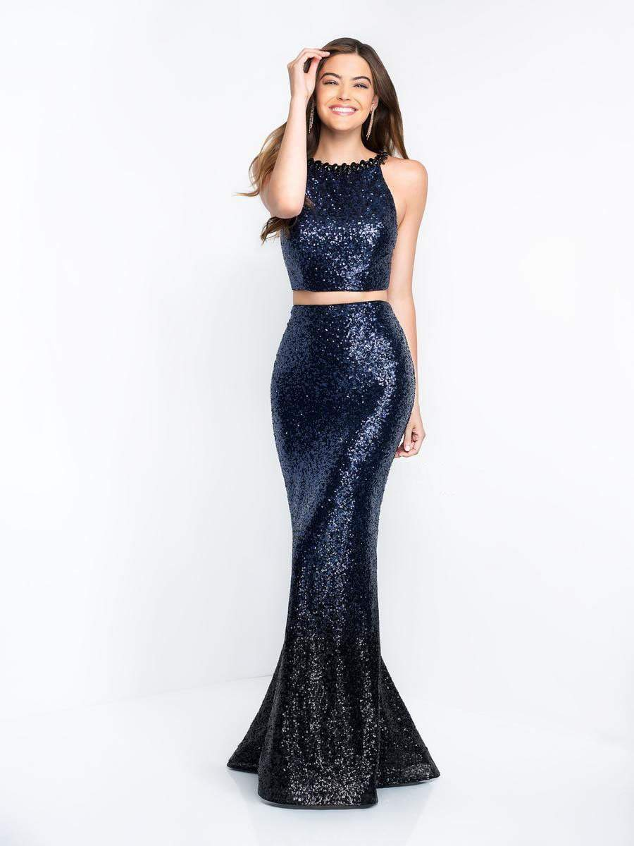 Intrigue - 452 Shimmering Sequined Halter Two Piece Gown In Blue