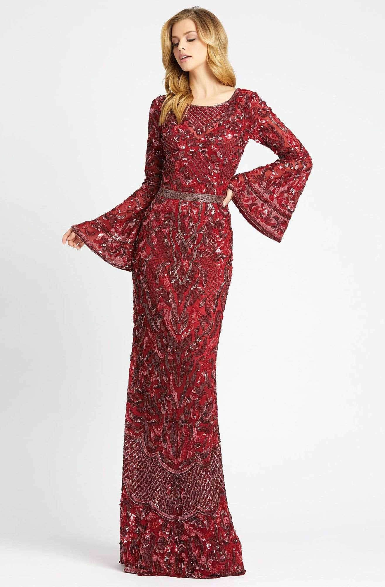 Mac Duggal - 4576R Beaded Dress with Long Bell Sleeves Special Occasion Dress 0 / Burgundy