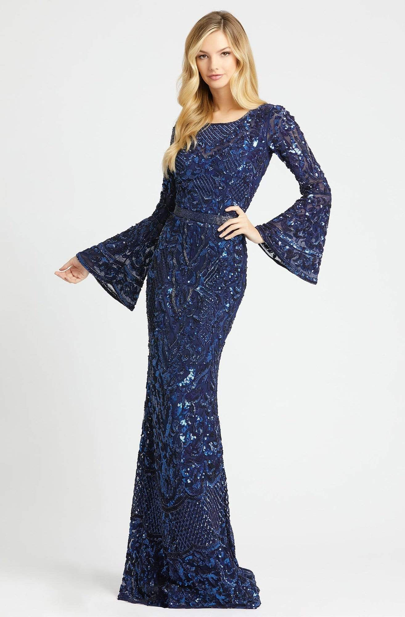 Mac Duggal - 4576R Beaded Dress with Long Bell Sleeves Special Occasion Dress 2 / Midnight Blue