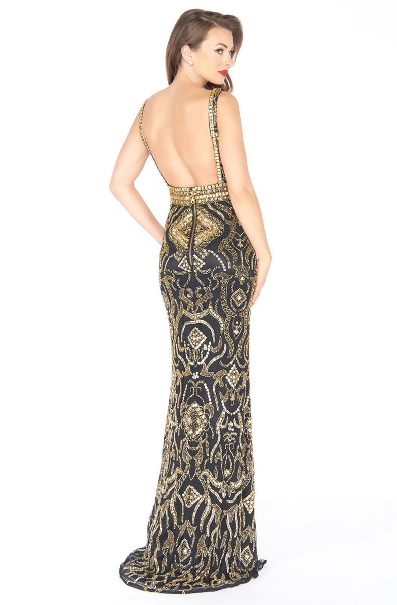 Mac Duggal - 4595R Gold Embellished V-neck Sheath Dress In Black and Gold