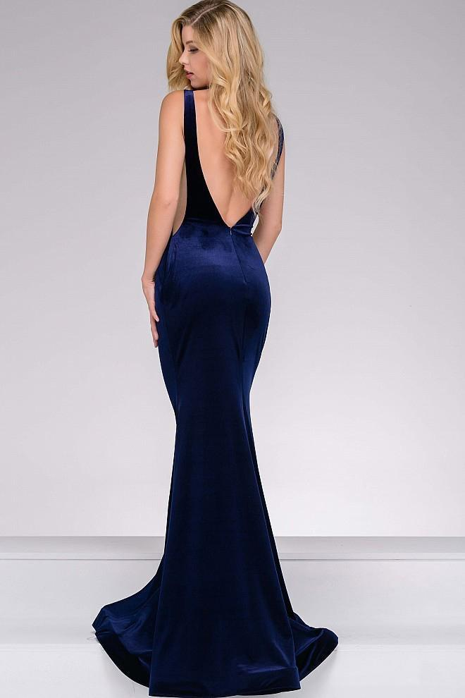 Jovani - Long Velvet Backless Prom Dress 46060 In Blue