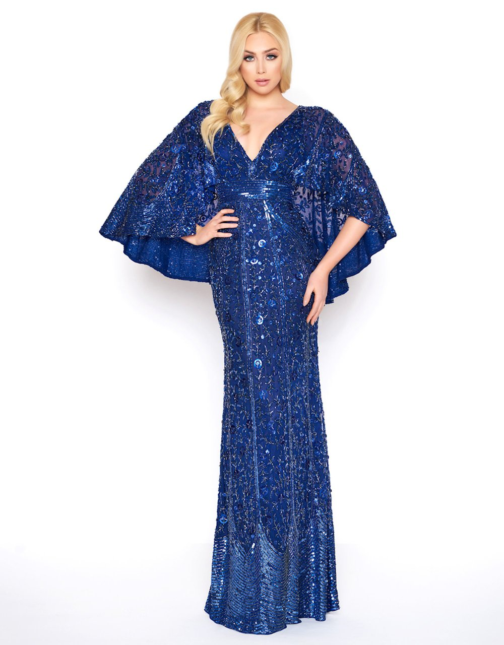 Mac Duggal - 4611D Caped V-Neck Evening Gown In Blue