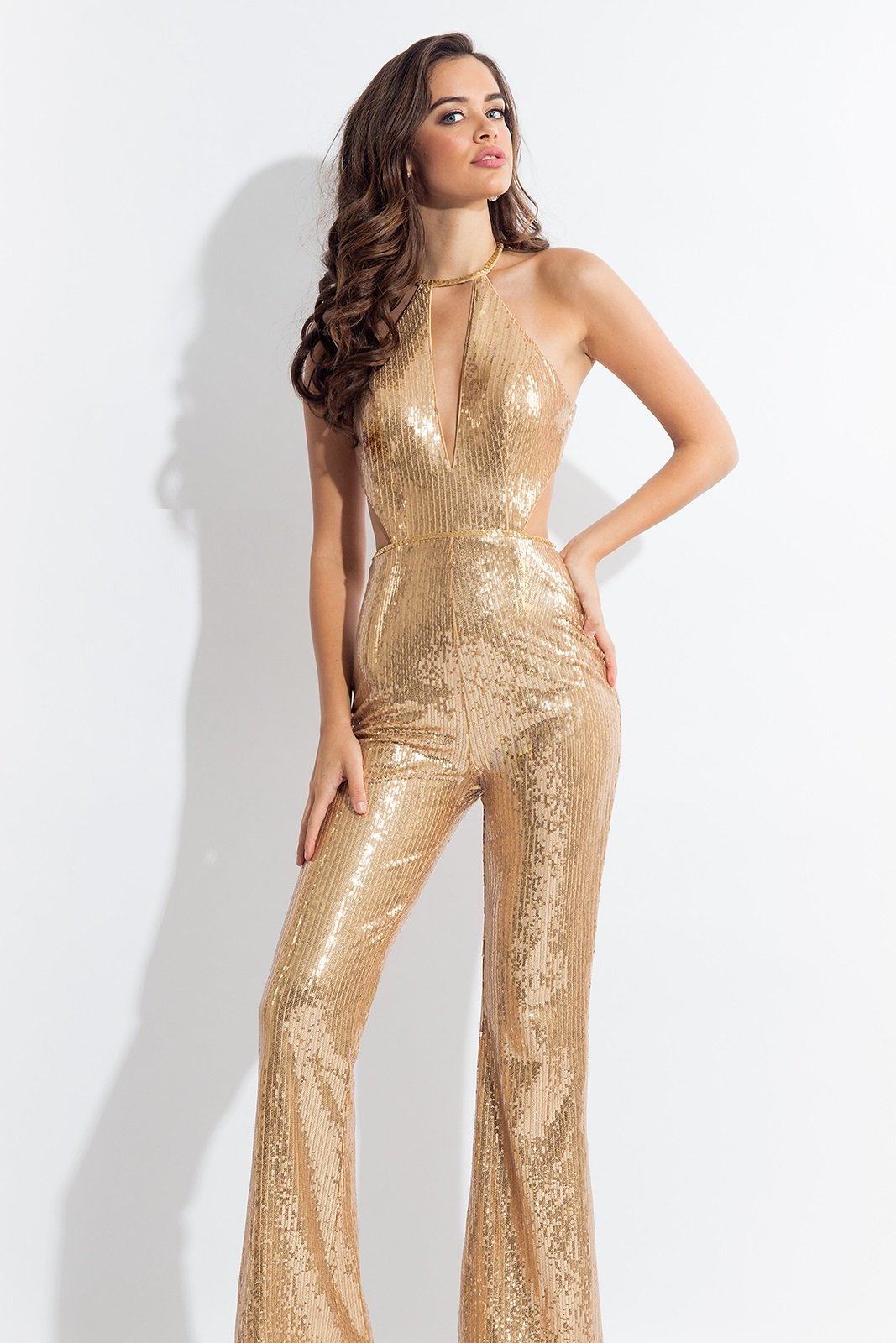 Rachel Allan - 4612SC Allover Sequins Sexy Fitted Bellbottom Jumpsuit