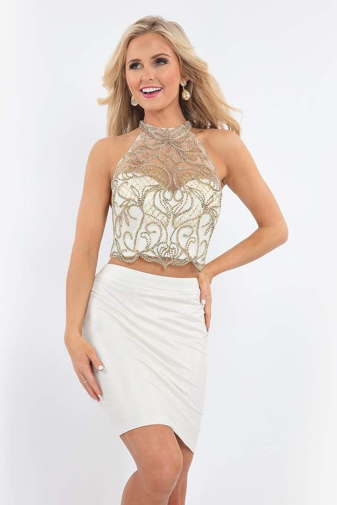 Rachel Allan - 4621 Metallic Beaded Illusion Halter Two-Piece Dress in White and Gold