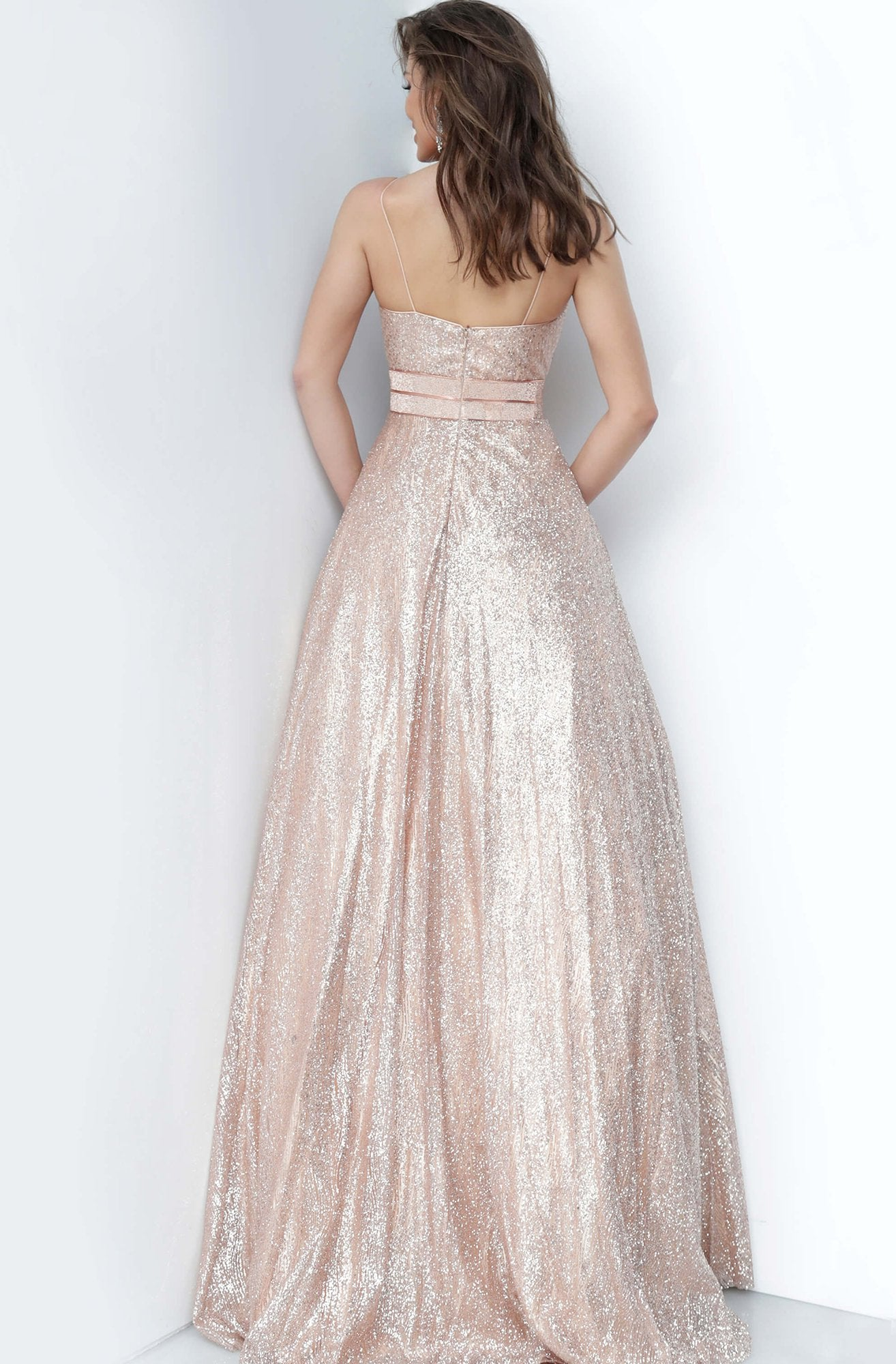 Jovani - 4660 Sweetheart Glittery A-Line Dress In Gold