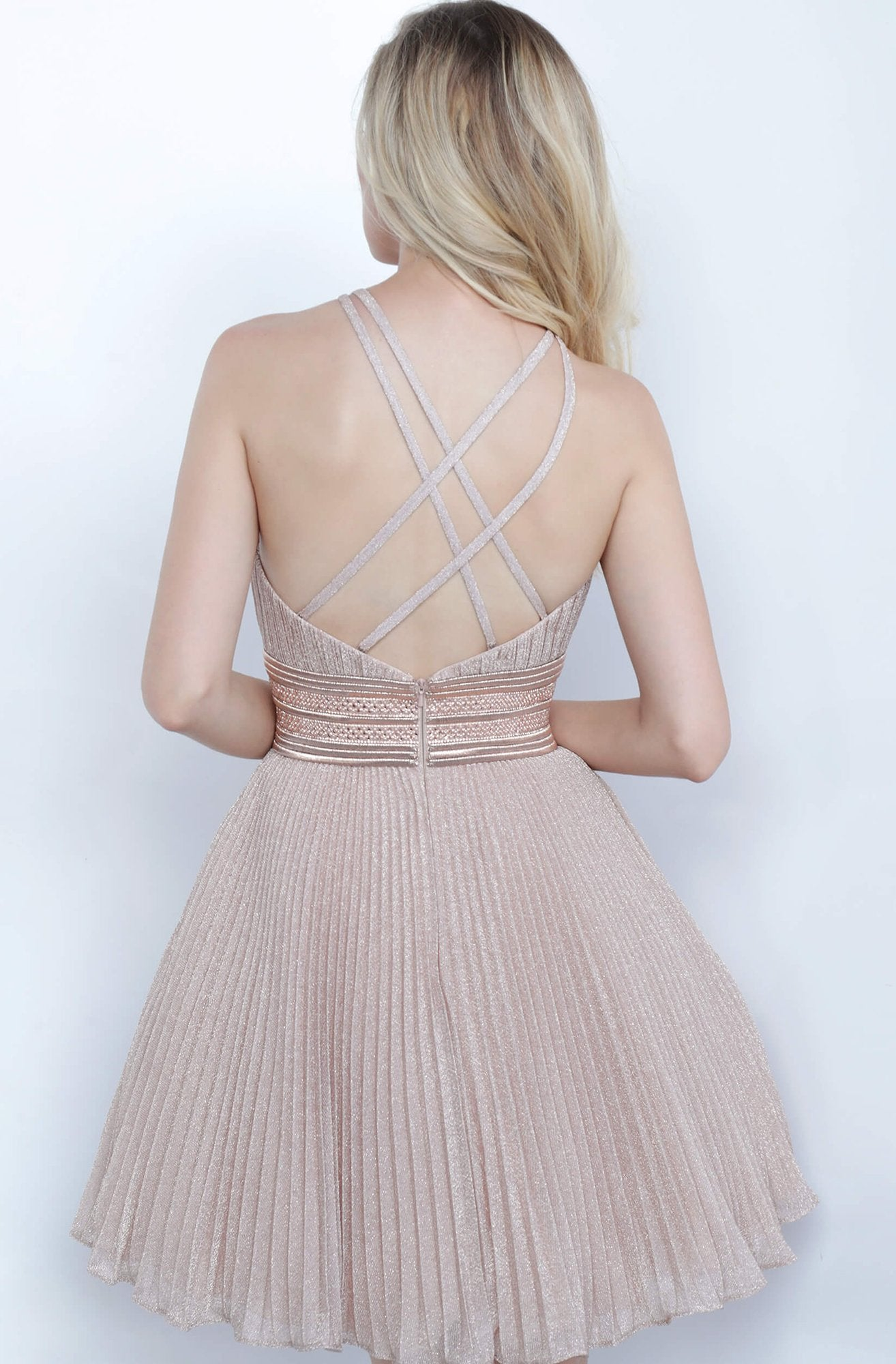 Jovani - 4664 Pleated Halter A-Line Cocktail Dress In Pink and Gold