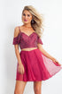 Rachel Allan - Two Piece Beaded Cold Shoulder Chiffon Dress 4667SC