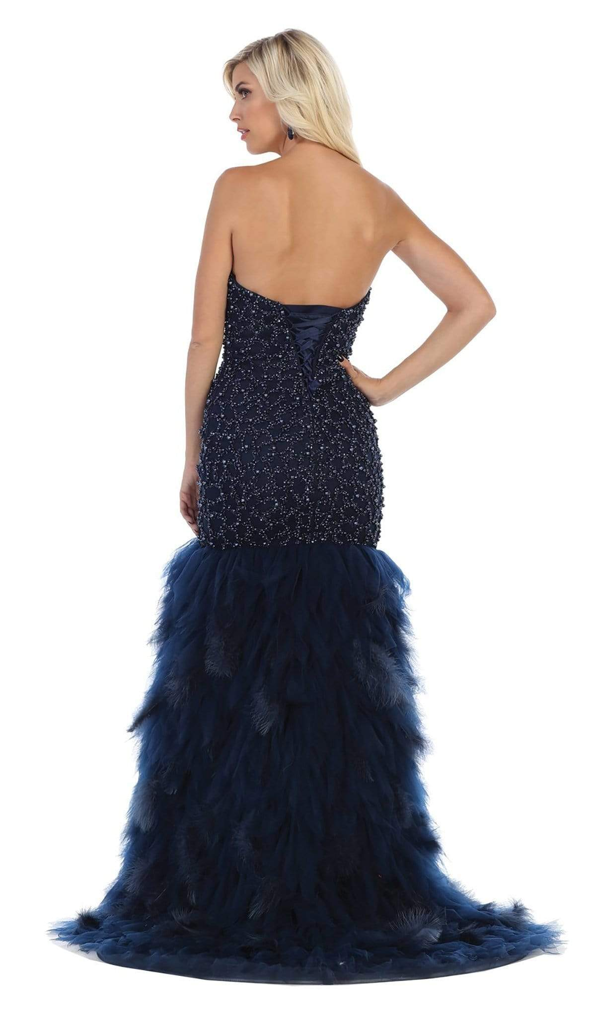 May Queen - Strapless Bead-Ornate Feathered Tulle Gown RQ7668 - 1 pc Champagne In Size 6 Available CCSALE