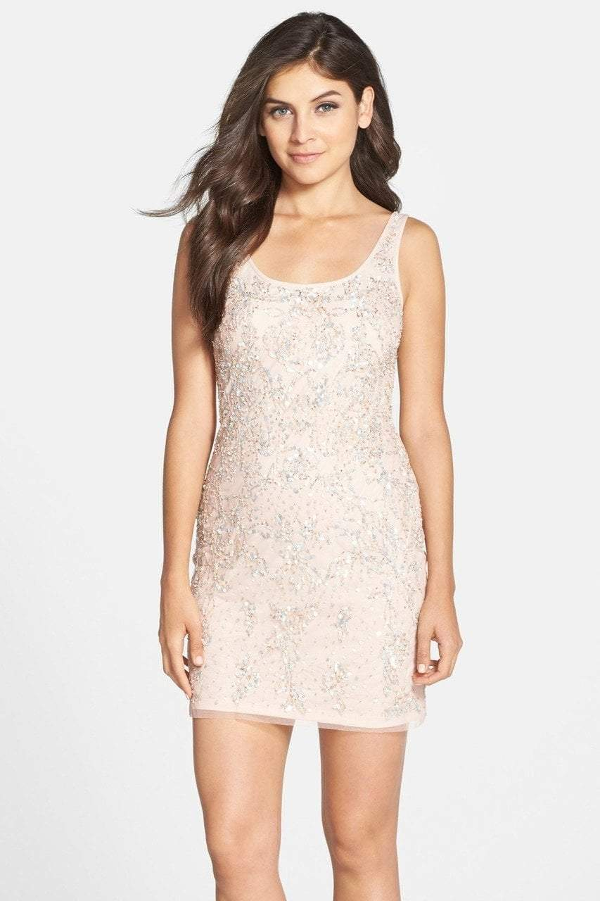 Adrianna Papell - Sequined Scoop Dress 41902390 in Neutral and Pink