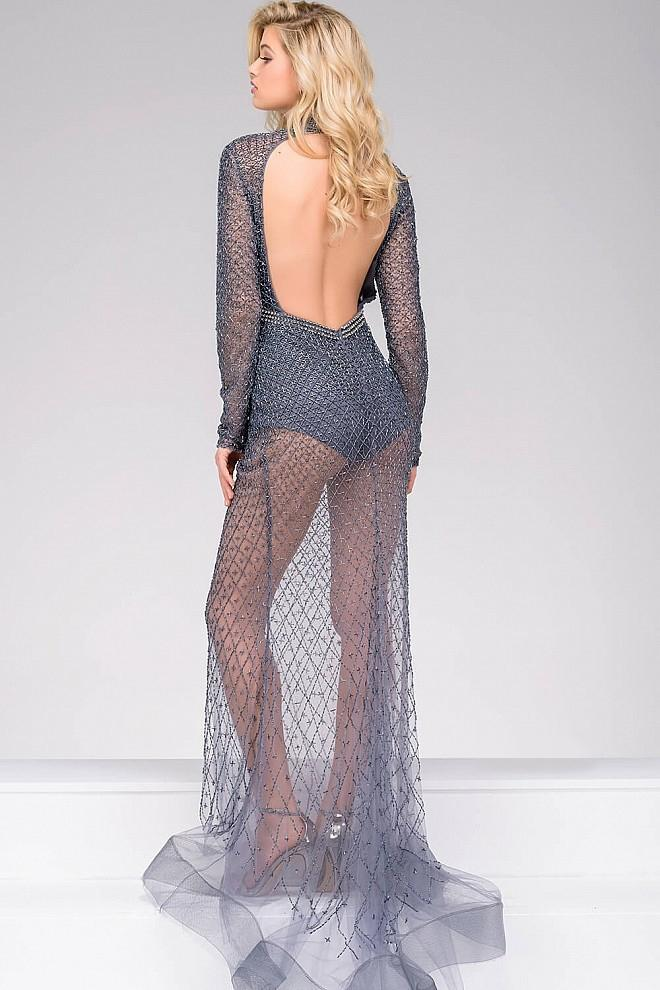 Jovani - 46950 Beaded Fitted Romper Mesh Overlay Dress in Gray
