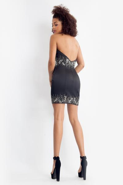 Rachel Allan - 4696 Strapless Beaded Sheath Overlay Dress In Black