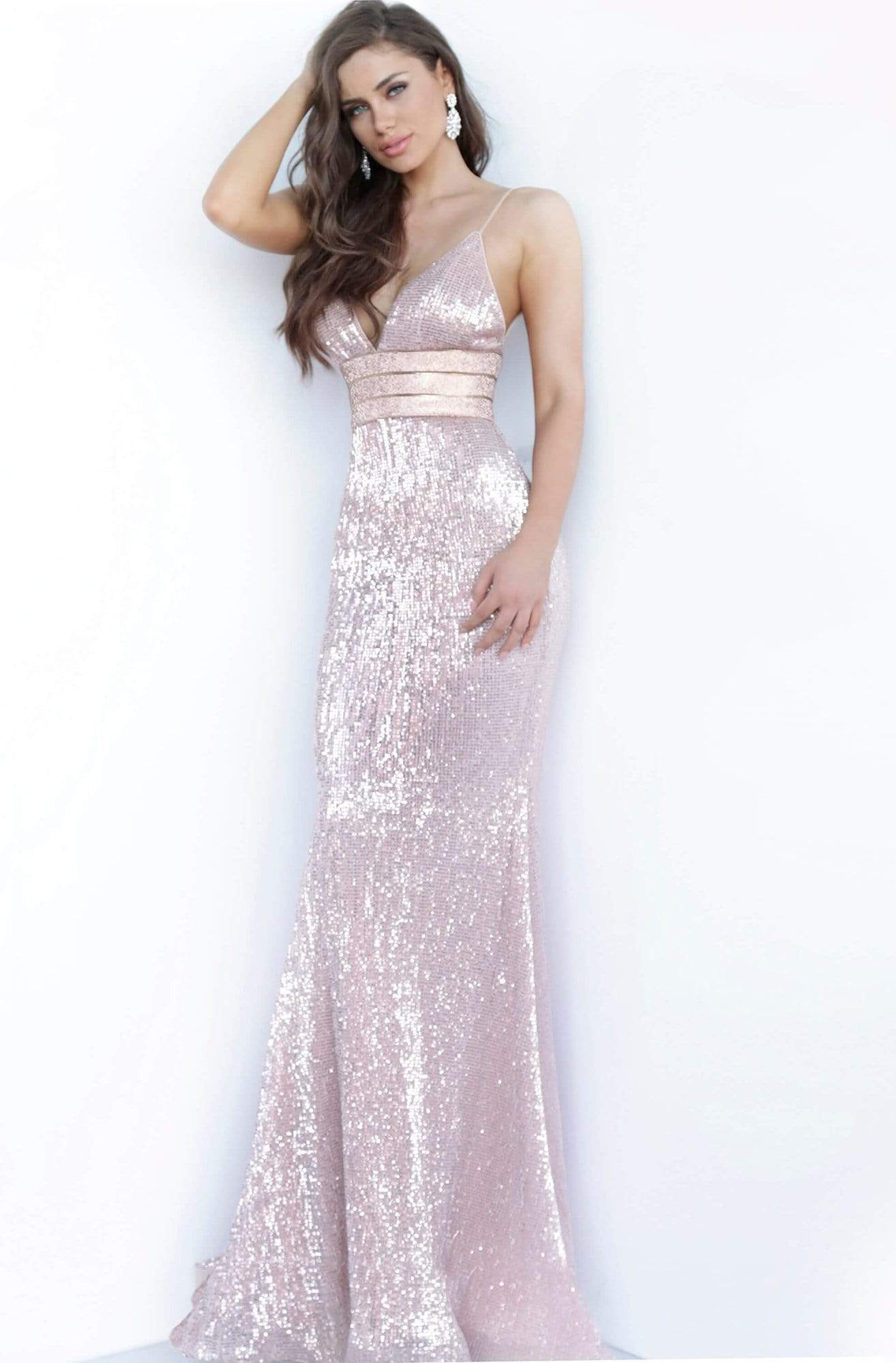 Jovani - 4697 Sequined Plunging V-Neck Gown Pageant Dresses 00 / Rose/Gold