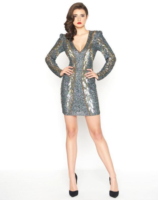 Mac Duggal - 4752R Sequined V-Neck Long Sleeves Cocktail Dress in Gray and Multi-Color