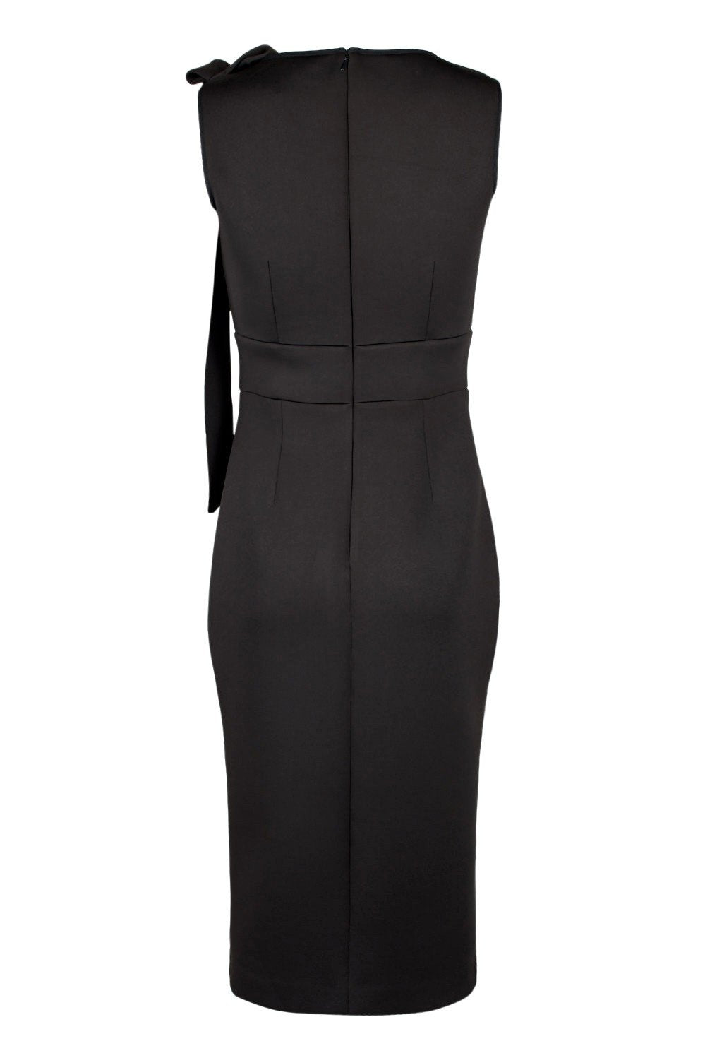 Nero By Jatin Varma - 480069 Tie Shoulder Sheer Front Sheath Dress In Black
