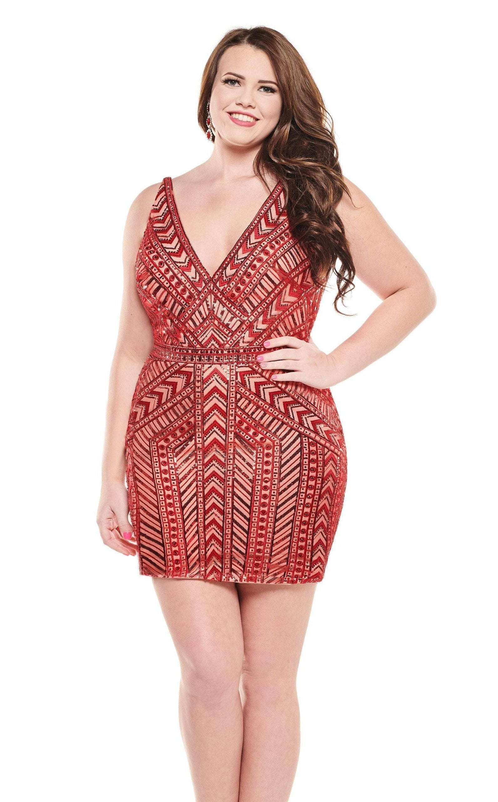 Rachel Allan Curves - 4828 Bedazzled Plunging V-neck Fitted Dress In Red and Neutral