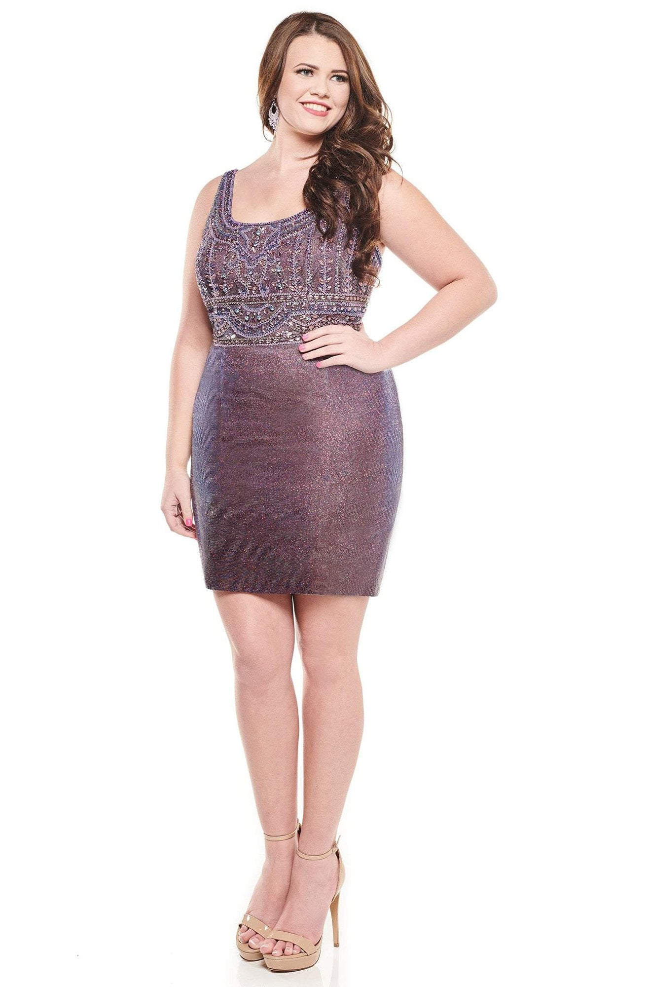 Rachel Allan Curves - 4830 Bedazzled Scoop Neck Sheath Dress In Purple