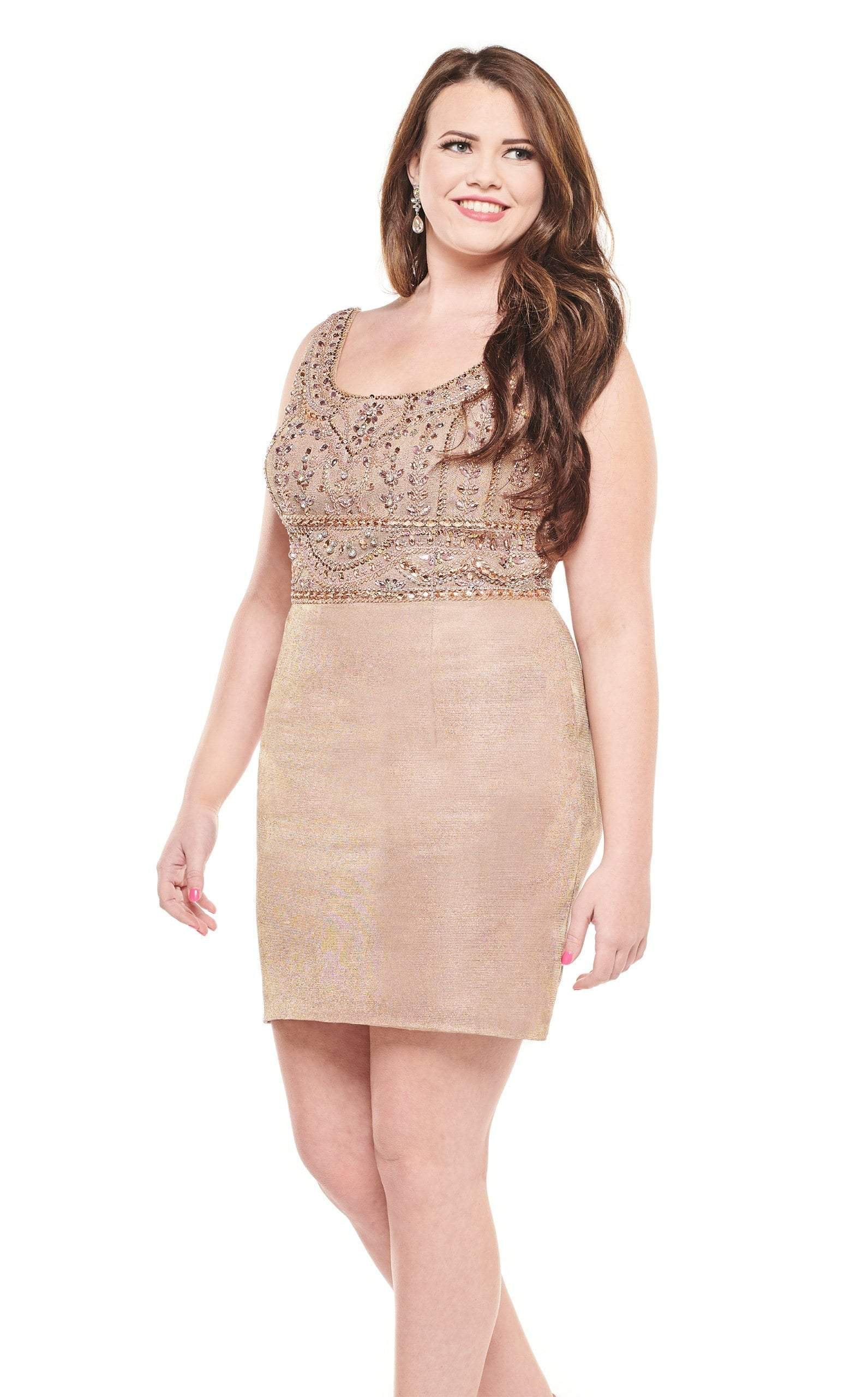 Rachel Allan Curves - 4830 Bedazzled Scoop Neck Sheath Dress In Gold