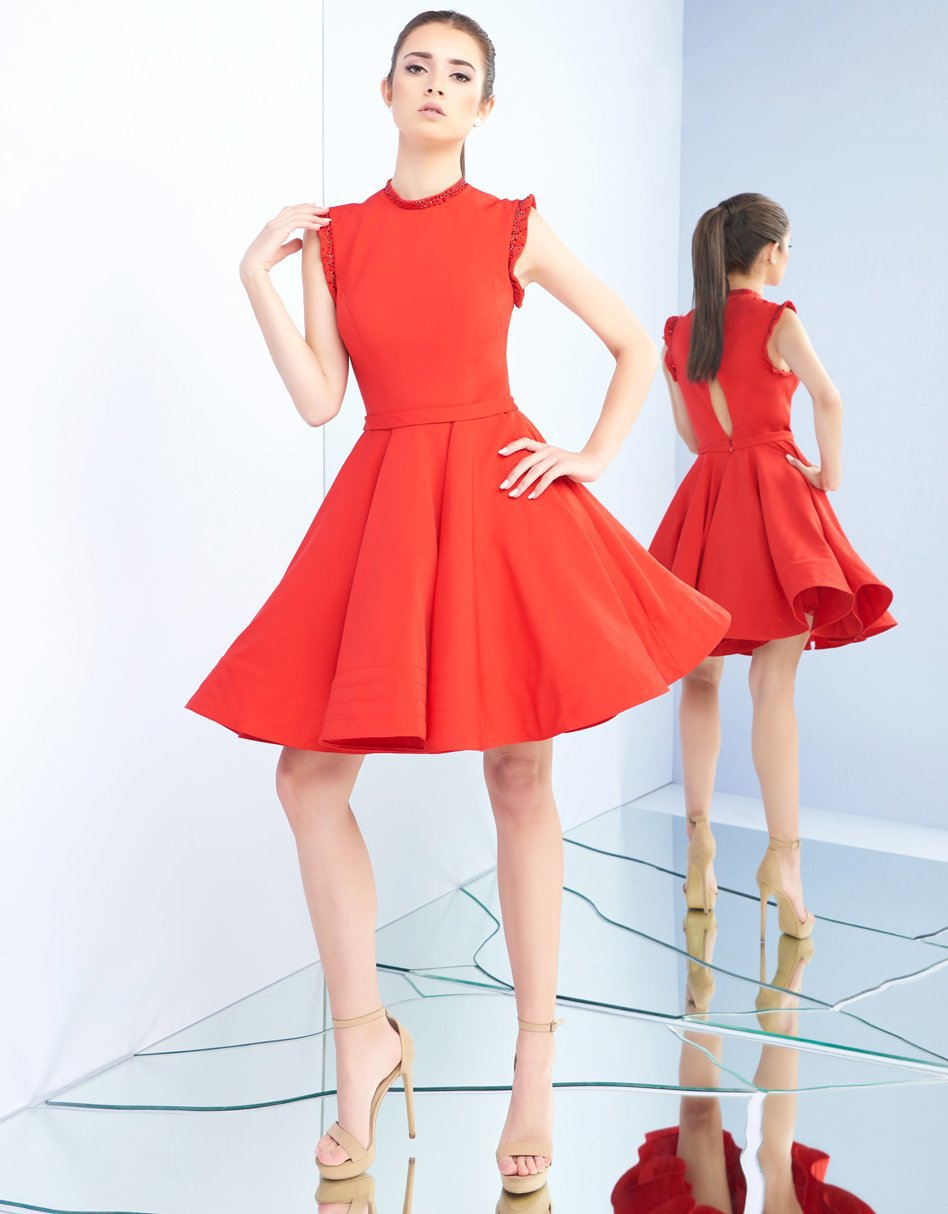 Ieena Duggal - 48772I Sleeveless Keyhole Style Back Cocktail Dress in Red
