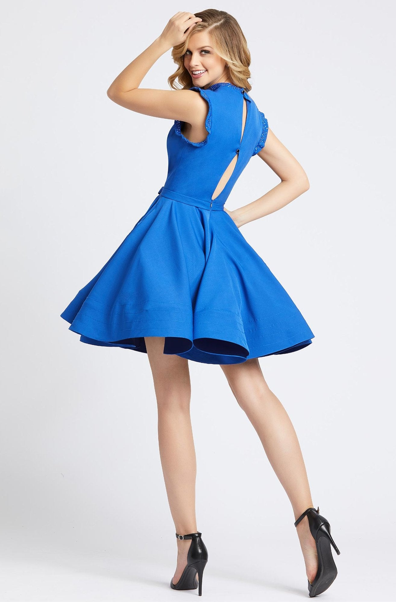 Ieena Duggal - 48772I Sleeveless Keyhole Style Back Cocktail Dress in Blue