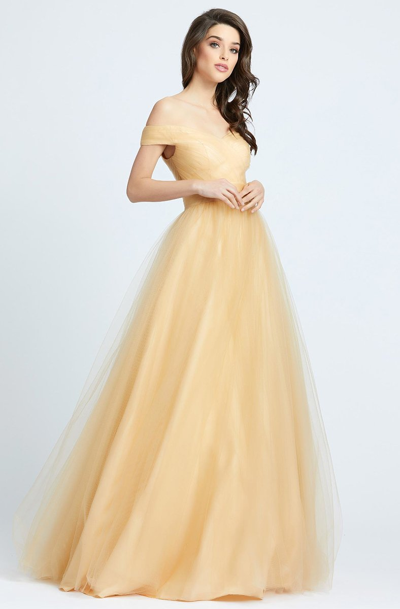 Ieena Duggal - 48778I Tulle Off Shoulder A-Line Evening Gown in Neutral and Yellow
