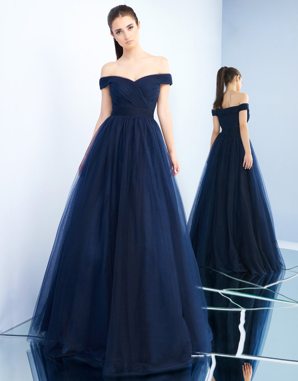 Ieena Duggal - 48778I Tulle Off Shoulder A-Line Evening Gown in Blue