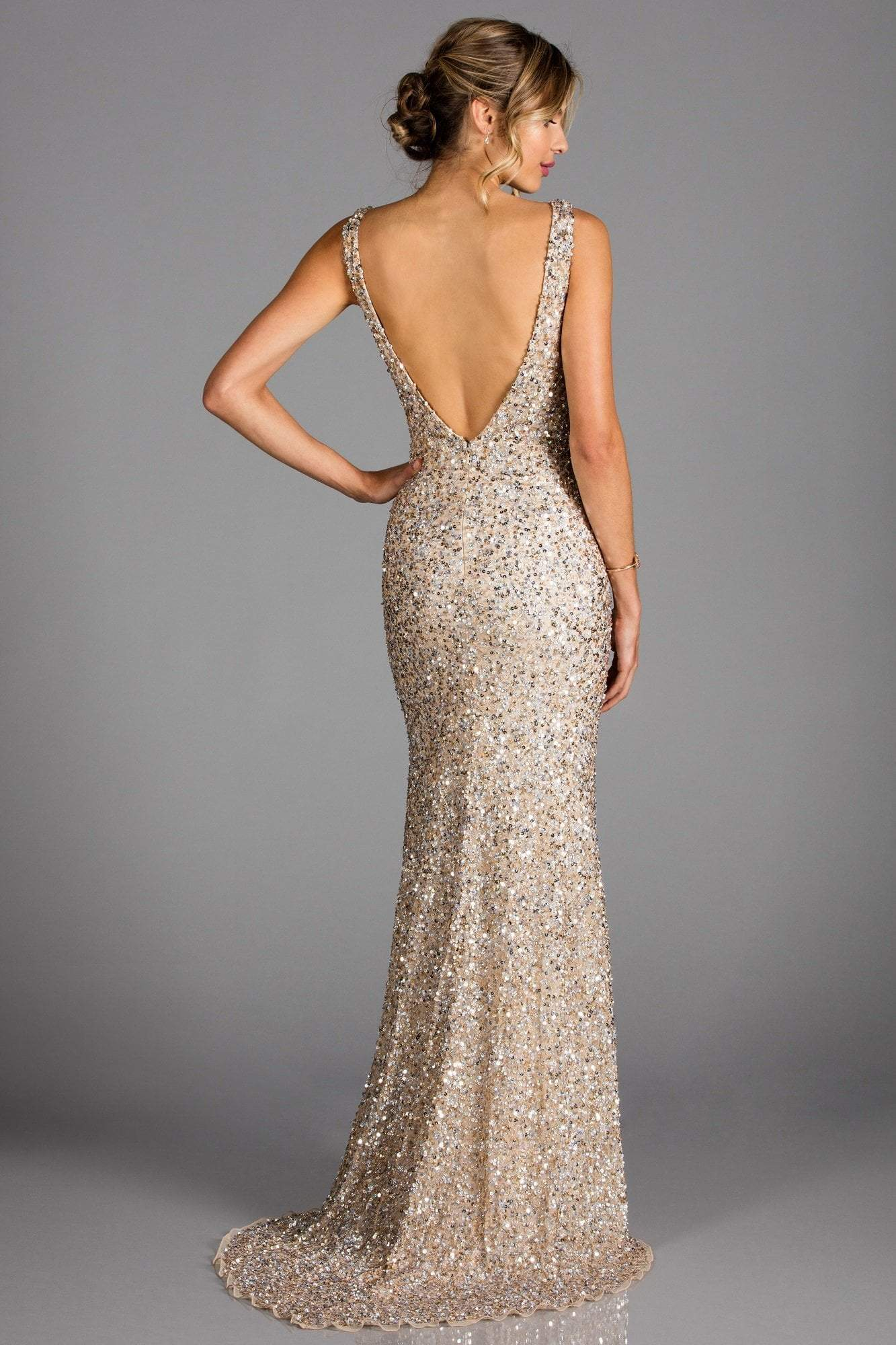 SCALA - Sequined Plunging V-neck Sheath Dress With Train 48883 In Neutral