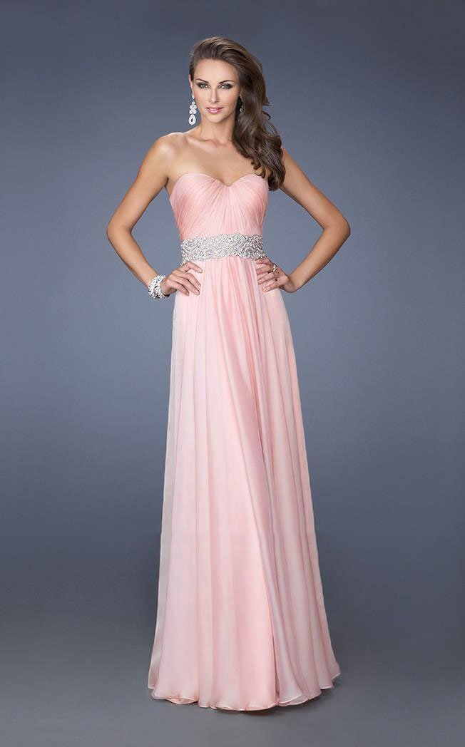 La Femme - Classy Strapless Sweetheart Dress with Bejeweled Belt 19931 In Pink