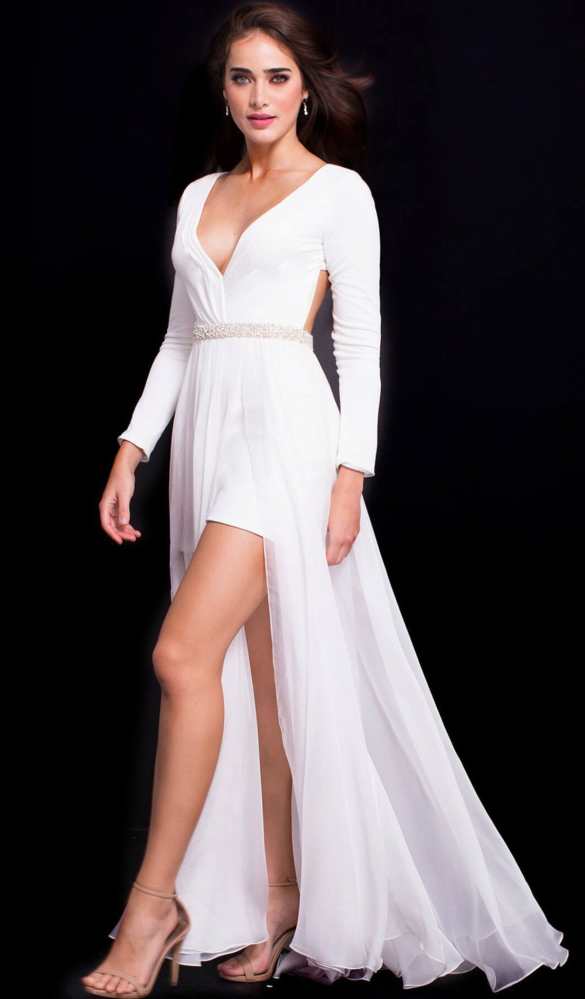 Jovani - 49266 Plunging V Neck Long Sleeves Gown in White