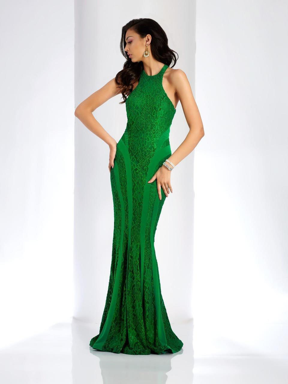 Clarisse - 4931 Embroidered Halter Sheath Dress in Green
