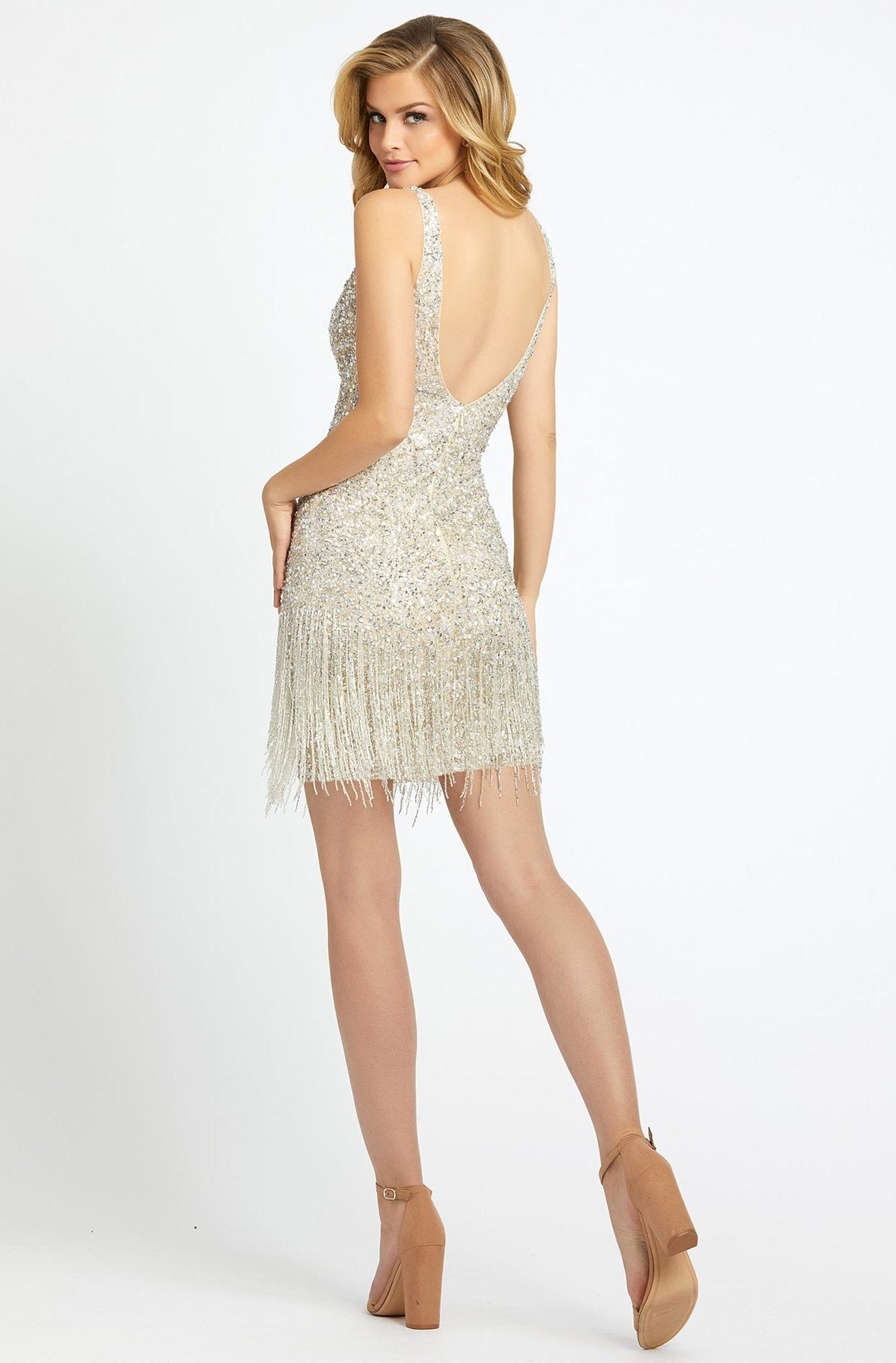 Mac Duggal Evening - 4971D Beaded Fringe Plunging V-neck Sheath Dress In Neutral and Silver