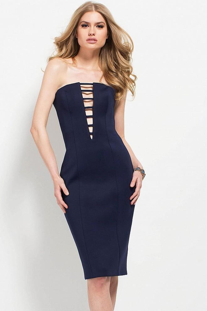 Jovani - 49901 Plunging Neck Scuba Sheath Dress Special Occasion Dress 00 / Navy