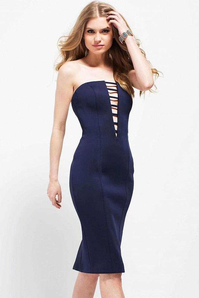 Jovani - 49901 Plunging Neck Scuba Sheath Dress Special Occasion Dress
