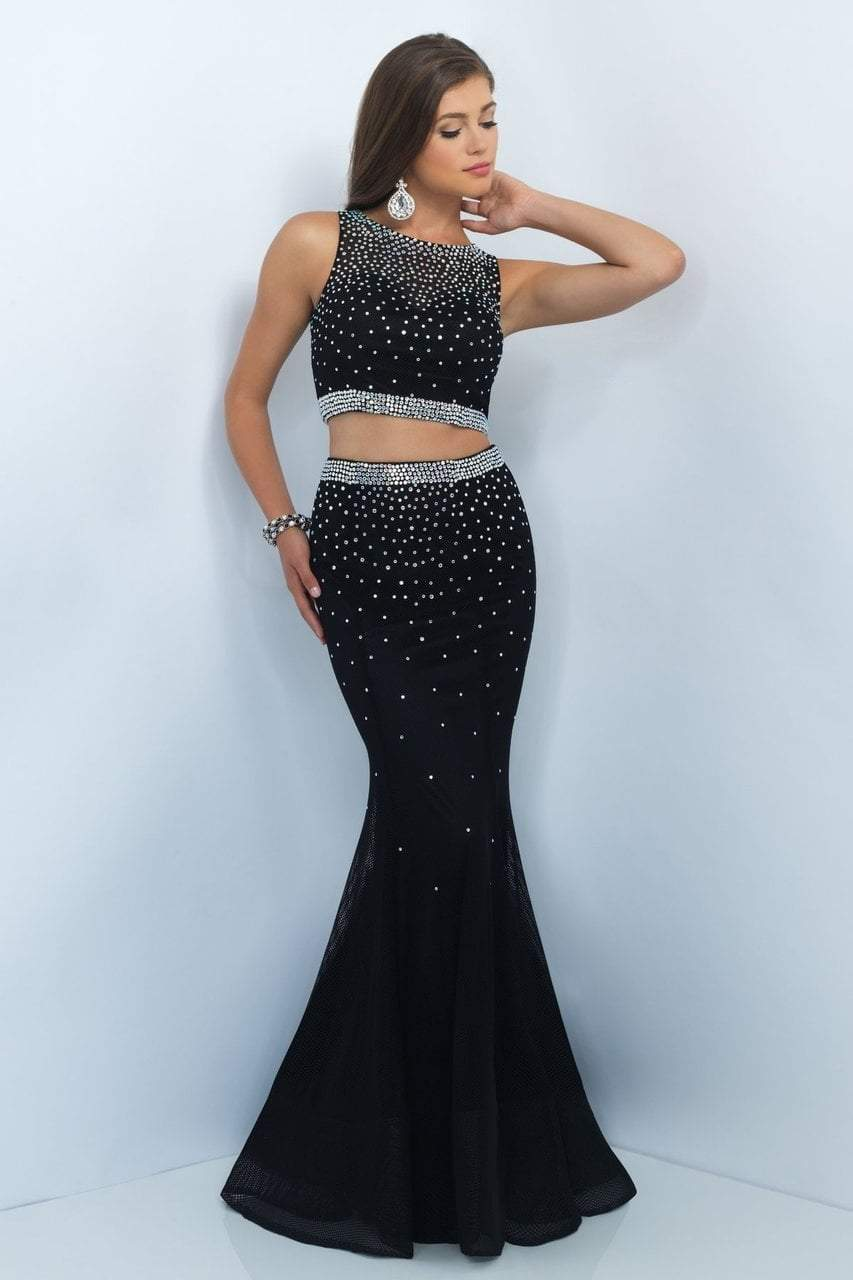 Blush - 11033 Two-Piece Sparkling Bare Midriff Trumpet Gown Special Occasion Dress 0 / Black
