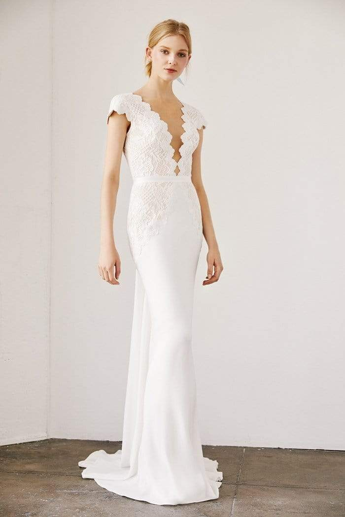 Tadashi Shoji - Basilah V-Neck Crepe Gown In White and Neutral