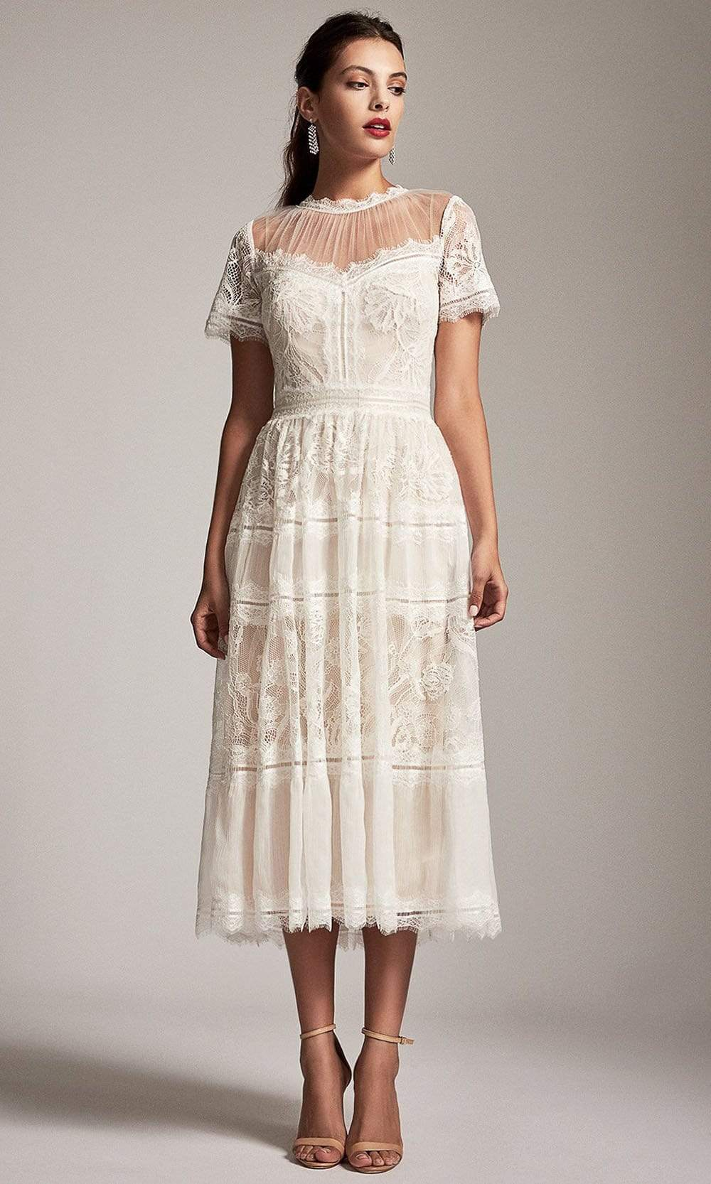 Tadashi Shoji - Lace Jewel A-Line Cocktail Dress Special Occasion Dress 0 / Ivory/Petal