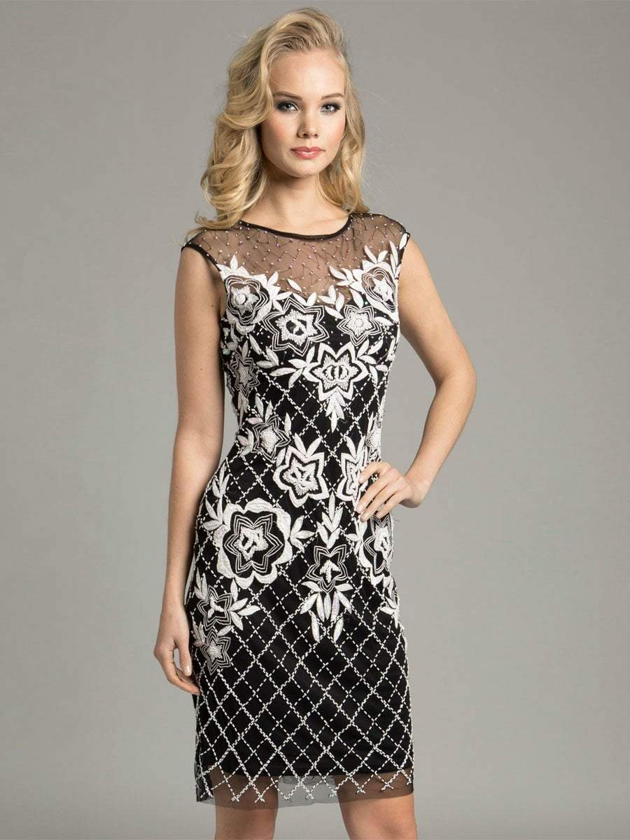 Lara Dresses - Pretty Sheer Cocktail Dress with Elegant Floral Design 33264, Black, White