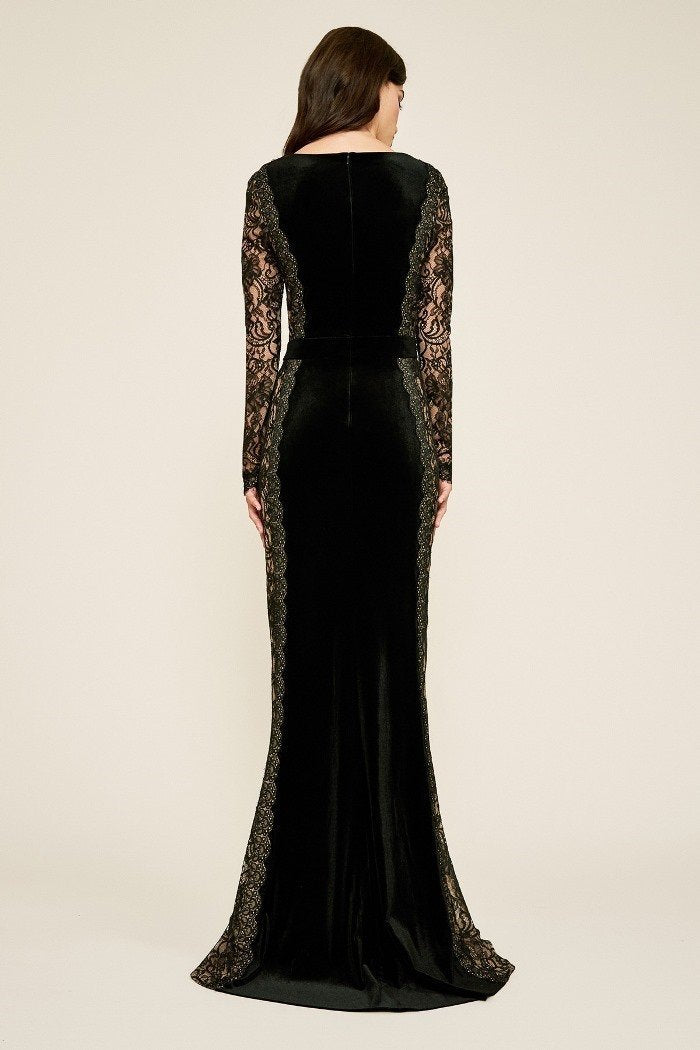 Tadashi Shoji - Molin Lace Long Sleeve Velvet A-line Evening Dress In Black and Neutral