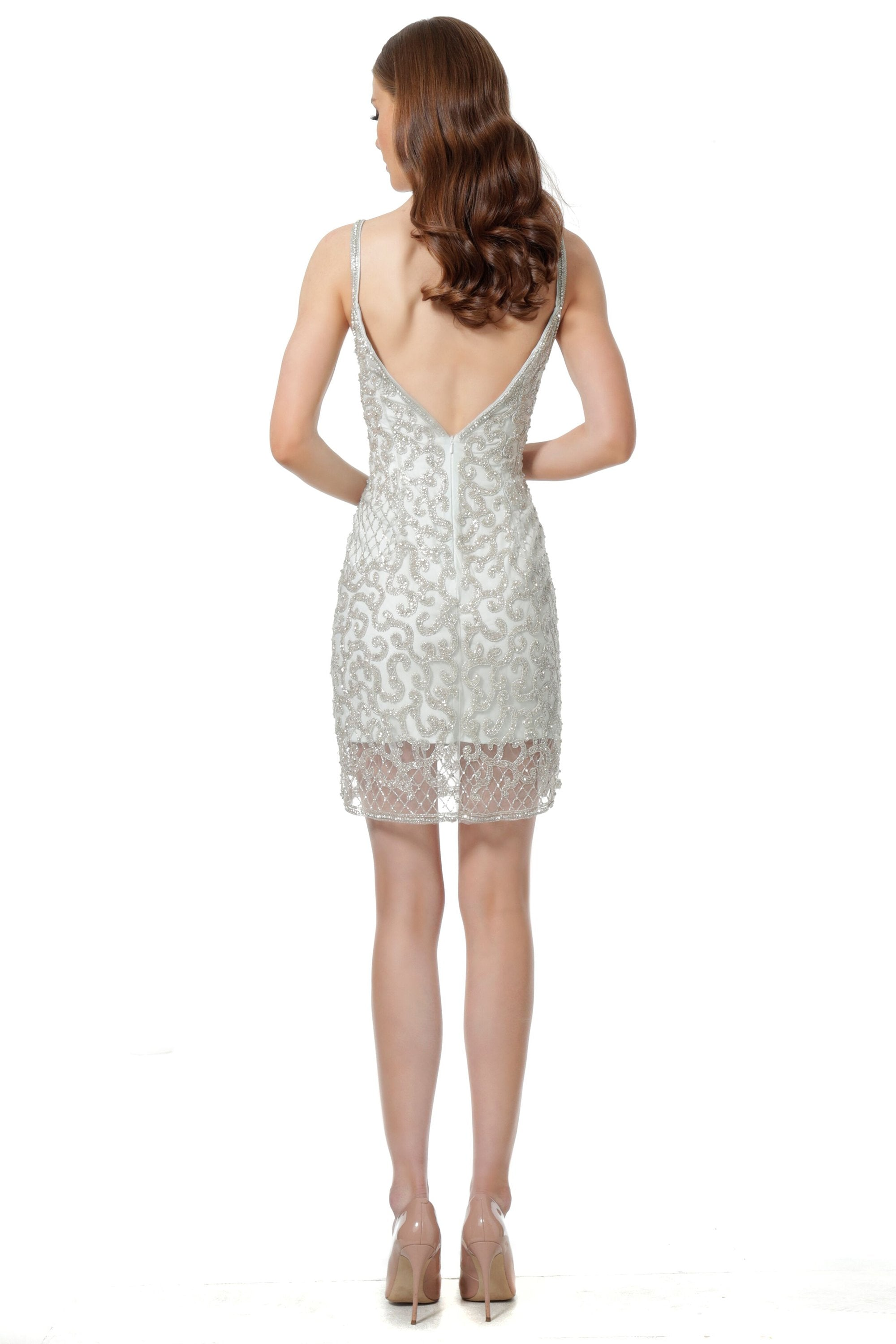 Jovani - 66766 Beaded Sweetheart Short Dress In Silver