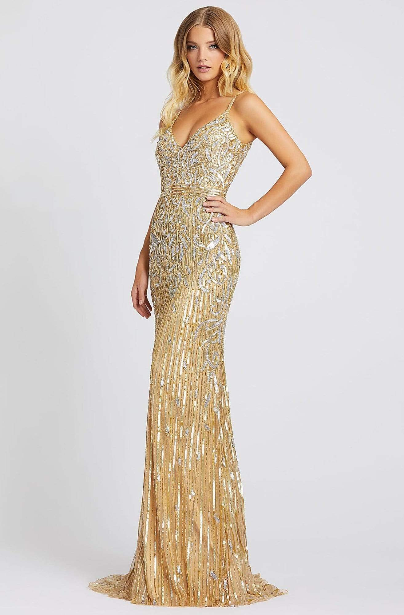 Mac Duggal Prom - 5001M Sleeveless V Neck Sequin Sheath Gown Prom Dresses 0 / Gold