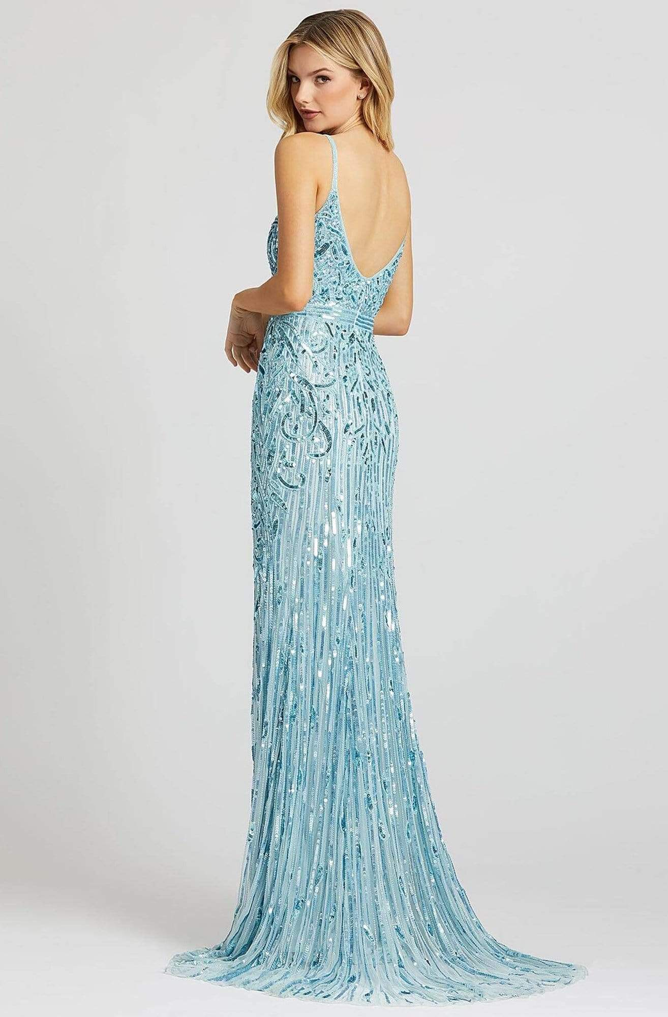 Mac Duggal Prom - 5001M Sleeveless V Neck Sequin Sheath Gown Prom Dresses