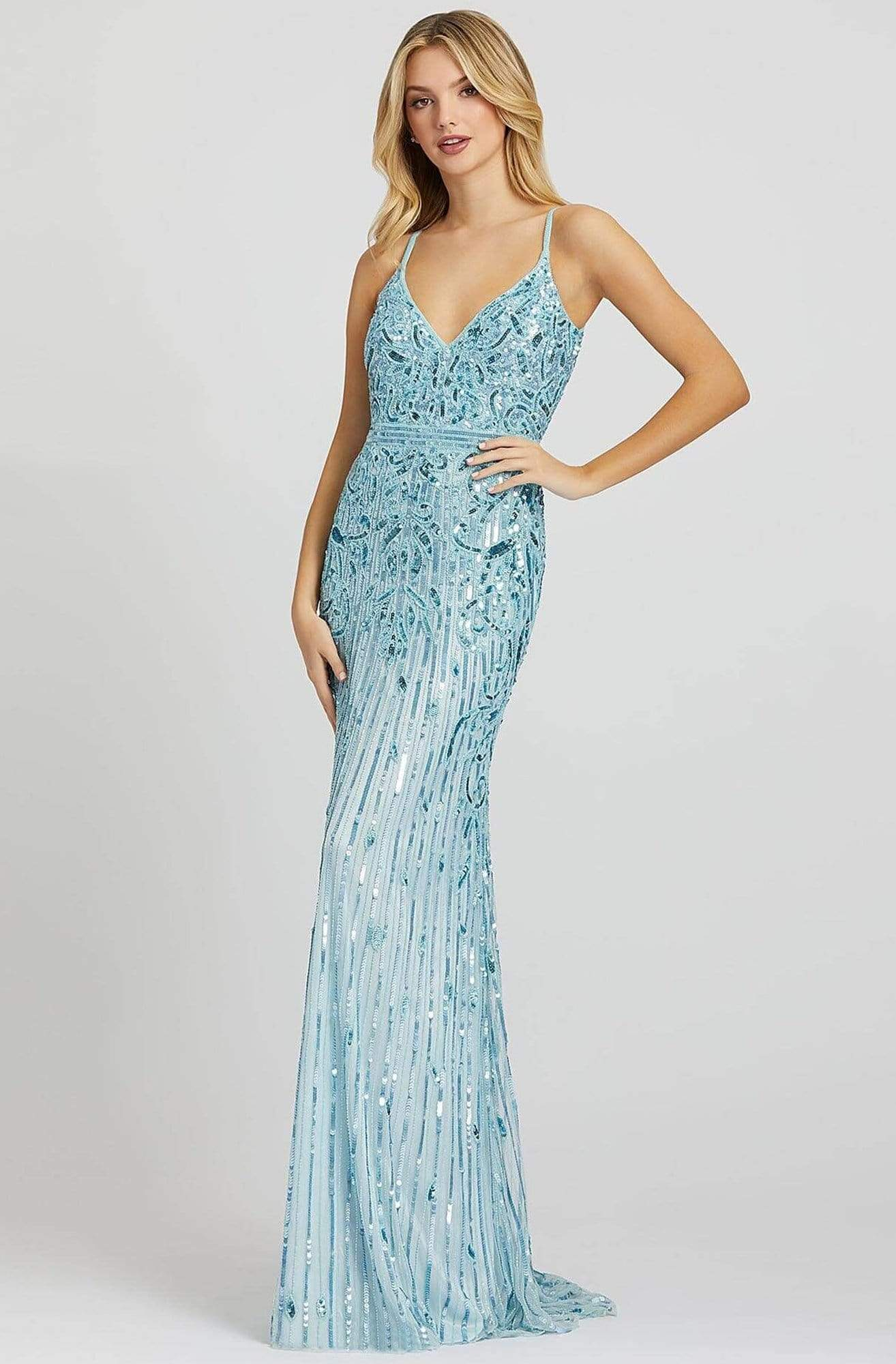 Mac Duggal Prom - 5001M Sleeveless V Neck Sequin Sheath Gown Prom Dresses 0 / Powder Blue
