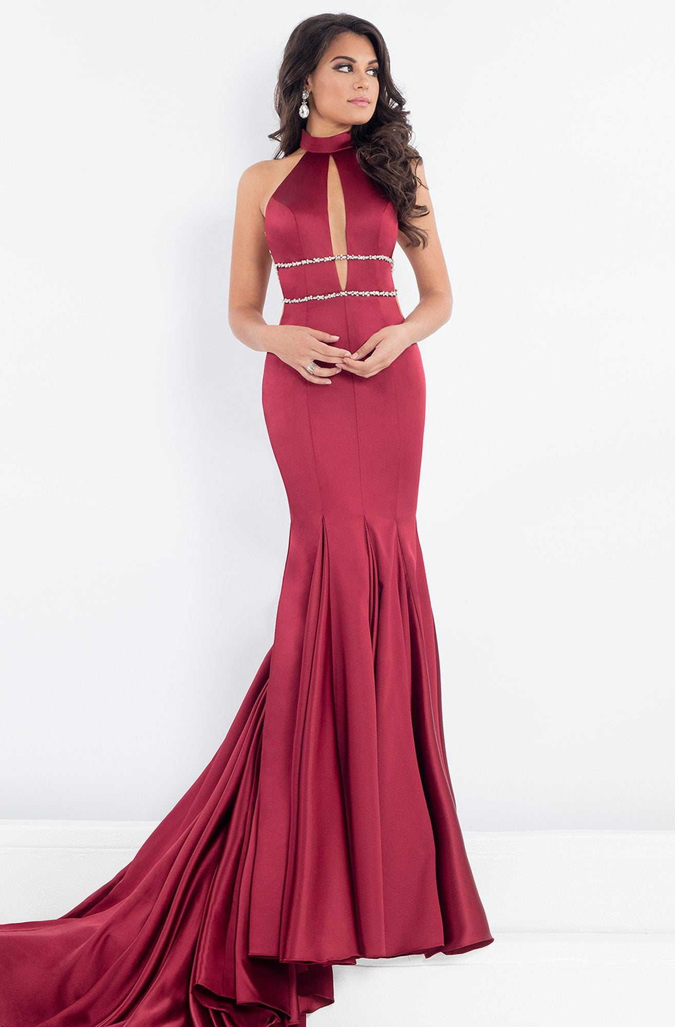 Rachel Allan Prima Donna - 5002 Fitted High Neck Trumpet Gown in Red