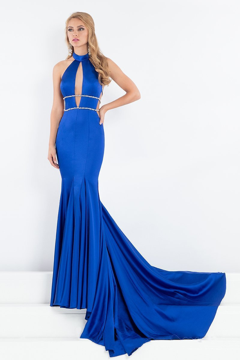 Rachel Allan Prima Donna - 5002 Fitted High Neck Trumpet Gown in Blue