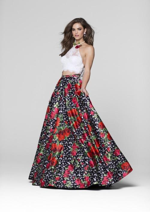 Tarik Ediz - Two Piece Floral Gown 50038 in White and Multi-Color