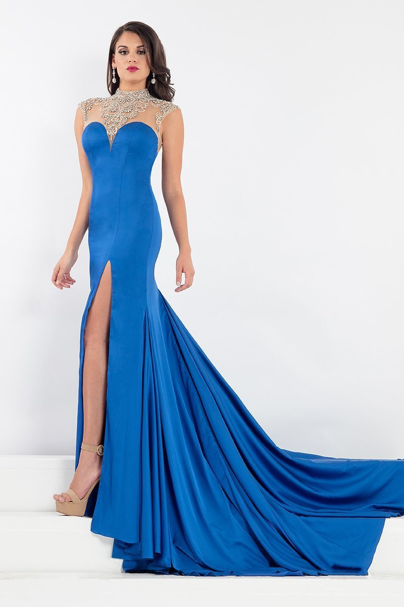 Rachel Allan Prima Donna - 5008 Beaded Cap Sleeve Slit Mermaid Gown in Blue