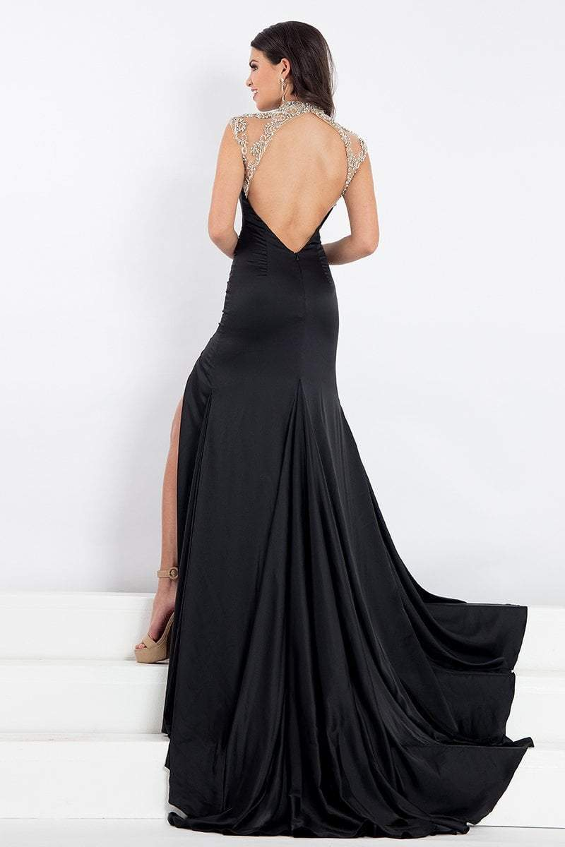 Rachel Allan Prima Donna - 5008 Beaded Cap Sleeve Slit Mermaid Gown in Black