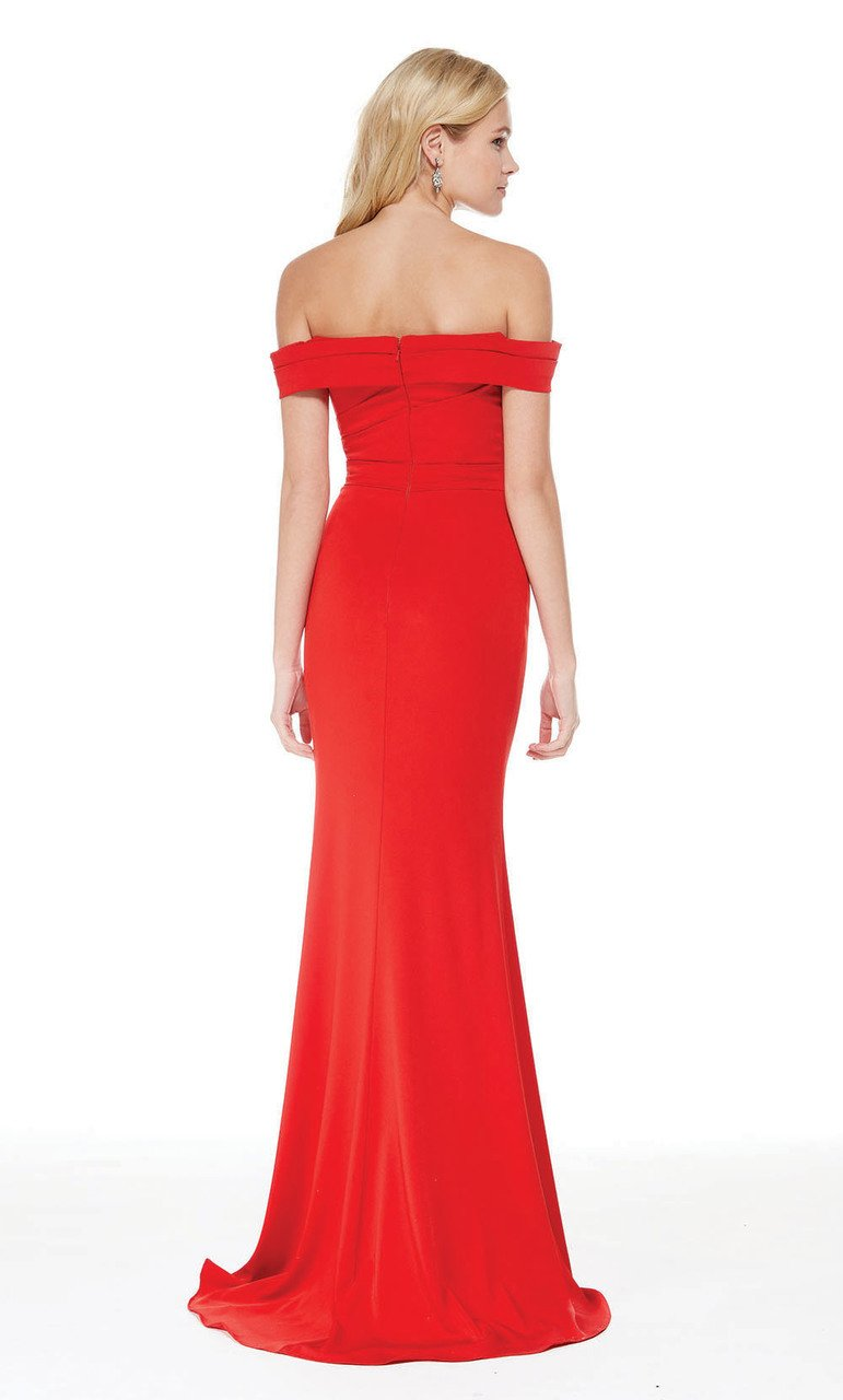 Alyce Paris - 5024 Off The Shoulder Satin Trumpet Evening Dress In Red