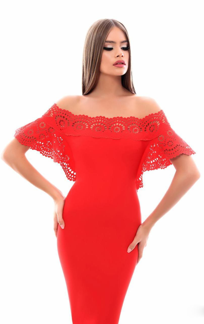 Tarik Ediz - 50347 Laser-Cut Batwing Sleeve Off Shoulder Mermaid Gown In Red